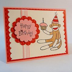 Happy Birthday Sock Monkey Card - blank inside This cute birthday card is made with heavy pink cardstock and layered designer print paper. It