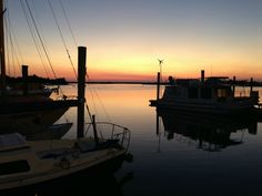 Sunset along the waterfront in Beaufort, North Carolina.  (Photo by Betsy Cartier)