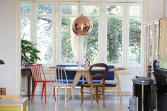 The home of Romy and Ilya - eclectic - Dining Room - Amsterdam - Holly Marder Woven Dining Chairs, Mismatched Dining Chairs, Modern Dining Table, Modern Chairs, Small Living Room Chairs, Wayfair Living Room Chairs, Dining Room Furniture, Dining Rooms, Chair Design