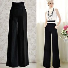 Vogue Womens Pants Wide Leg Flared Elegant High Waist Loose Long Trousers #ebay #Fashion