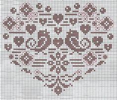 Serce, ptaszki i kwiatki na Dzień Matki Cross Stitch Heart, Cross Stitch Flowers, Cross Stitch Patterns, Knitted Heart, Crochet Birds, Knitting Charts, Valentine Crafts, Love And Marriage, Cross Stitching
