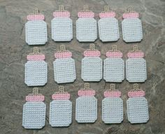 15 Plastic canvas Girl Baby Bottle Baby Shower by sweetsolutions