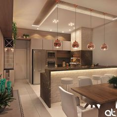 🥰 Projeto AT Arquitetura… Cozinha gourmet lindíssimaa! 😱🥰 Projeto AT Arquitetura Source Open Plan Kitchen Living Room, Kitchen Room Design, Luxury Kitchen Design, Diy Kitchen Decor, Interior Design Kitchen, Kitchen Dinning, Kitchen Ideas, Dining Room, Modern Kitchen Interiors