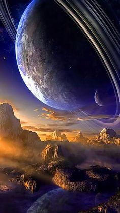 Wallpaper Earth, Planets Wallpaper, Wallpaper Space, Galaxy Wallpaper, Nature Wallpaper, Art Galaxie, Planet Pictures, Space Artwork, Space Planets