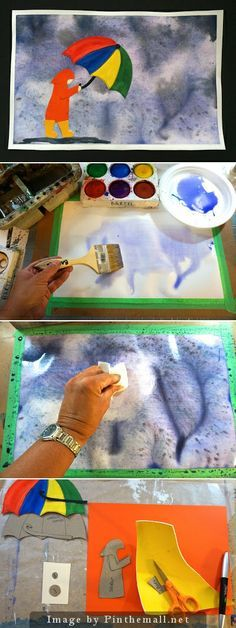 Rainy Day Watercolour: This is for those April showers we are supposed to be having. This lesson explains how to get varied affects with watercolors. A delightful lesson using water colors and collage that children will have fun doing.