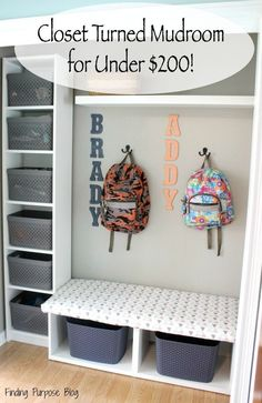 How We Turned a Closet Into a Mudroom for Under $200!!