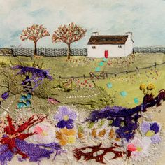 ''Wild flower meadow cottage'' By Louise O'Hara