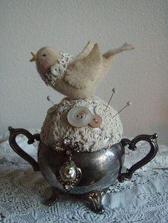 Pin cushion/silver sugar bowl