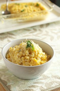 Creamy Baked Corn with Parmesan | carmelmoments.com (sounds like what Cathy was telling me about)