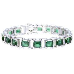 Sterling Silver Emerald-cut Topaz Link Bracelet