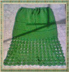 Tricot o crochet: {Remera manga corta y falda en verde}