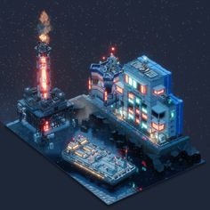 Voxelart Dioramas - Industries of Titan on Behance