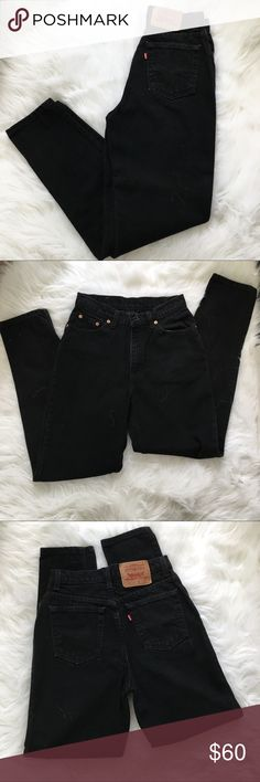 """512 Vintage Levi's Black Mom Jeans Vintage black denim high waisted Levi's mom jeans size 9 waist:13.5 Hope: 18"""" rise, crotch seam to waist: 11.5 inseam: 29   Consider length for rolling up the ankles. 512 tapered leg fit T Tag says size 9 but vintage sizing runs small.  Go by measurements.  Great vintage condition!!!   ❗️PLEASE GO BY MEASUREMENTS. I am not responsible for jeans not fitting❗️ Levi's Jeans"""