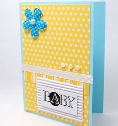 New Baby Card  Baby Shower Card  Blue and by PrettyByrdDesigns