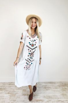 """Silver Blue Embroidery Detail  Fully Lined  1/4 Loose Sleeve + V-Neck  Also Available in Ivory,Peach Rose, + Lavender  Model is 5'6"""" + Wearing a Small/Medium"""