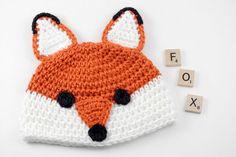 Crochet Fox Baby Hat // Newborn Photo Prop // Fox Beanie // Foxy Baby Hat by lauraanncrochet