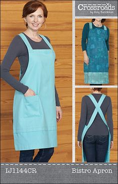 Easy on & off apron. Bistro Apron Pattern IJ-1144 by Indygo Junction - Amy Barickman.  Check out our clothing patterns.  https://www.pinterest.com/quiltwomancom/clothing-patterns/  Subscribe to our mailing list for updates on new patterns and sales! https://visitor.constantcontact.com/manage/optin?v=001nInsvTYVCuDEFMt6NnF5AZm5OdNtzij2ua4k-qgFIzX6B22GyGeBWSrTG2Of_W0RDlB-QaVpNqTrhbz9y39jbLrD2dlEPkoHf_P3E6E5nBNVQNAEUs-xVA%3D%3D