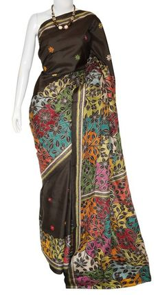 b22722ba0c04a Kantha Silk Reverse Tasar (Mulbery) Saree with Blouse
