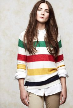 White shirt + colour blocked stripey jumper