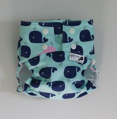 Whale of a Tale PUL Lined Water Resistant Cloth Diaper Cover Available in Small, Medium, and Large by barrelandaheap $20