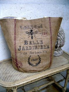 burlap grain sack made into a tote bag Burlap Bags, Burlap Purse, Coffee Sacks, Grain Sack, Linens And Lace, Bees Knees, Purses And Bags, Sewing Projects, Creations
