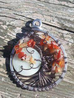 Tree Of Life Carnelian & Moon Stone Pendant by organicjewelrykelly on Etsy