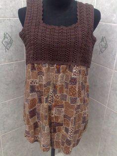 Blusa combinada. Camisa de hombre y crochet-2014