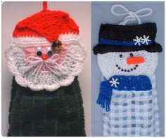 Santa and Snowman Towel Toppers Crochet by Maggiescrochet on Etsy, $6.99