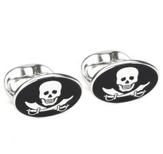 Sir Jack's Pirate Skull & Swords Sterling Silver Cufflinks