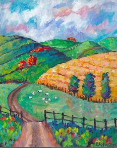 Emerald Hills Triptych right panel by Peggy Johnson impressionistic modern landscape painting hills fence by Peggy Johnson at everygoodcolor on Etsy! http://www.etsy.com/shop/everygoodcolor