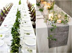 We love the contrast between crisp white linens and florals with woodsy green centerpieces and table runners. There are an endless amounts of greenery that you Wedding Table Garland, Green Centerpieces, Eucalyptus Garland, Table Runners, Tablescapes, Greenery, White Linens, Table Settings, Table Decorations