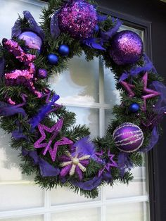 Gorgeous Purple Christmas Wreath  ready to ship by kareniscreative, $65.00