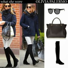 Olivia Palermo walking in New York in blue wool short coat, black sunglasses, light skinny jeans, black bag with black suede over the knee boots