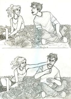 Percy Jackson and Annabeth Chase are picking strawberries. Percy has a strawberry in his mouth in the top picture Percabeth, Art Sketches, Art Drawings, Drawing Art, Burdge Bug, Percy And Annabeth, Annabeth Chase, Character Design Cartoon, Cartoon Kunst