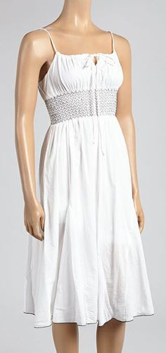 Really cute! Perfect for summer White & Black Smocked Sleeveless Dress