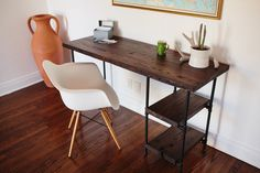 Reclaimed Wood Desk w/ 2 Shelves by CraftGather on Etsy, $650.00 - Would be cool to get this made