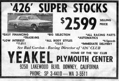 426 Super Stocks from Yenkel Plymouth Center