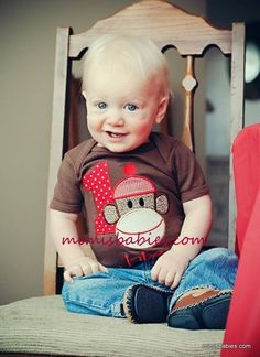 Sock Monkey Birthday Shirt  Custom Monogrammed Free  Girls or Boys Infant Toddler Child Sizes