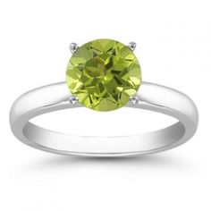 Apples Of Gold Peridot Gemstone Solitaire In 14k White Gold Jewelry $348