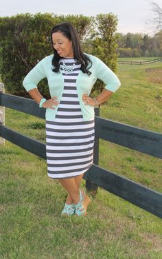 black and white striped tee shirt dress with mint cardigan sweater, modest outfit idea