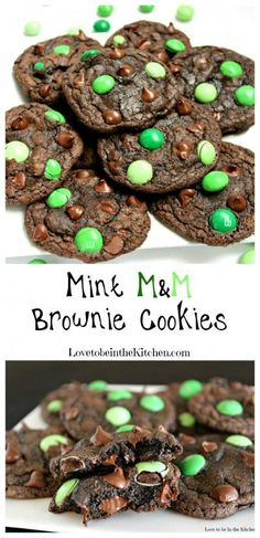 You only need a few ingredients to make these amazing Mint MM Brownie Cookies! These are soft and chewy but slightly crispy on the edges. Just like a brownie in cookie form with melty delicious chocolate chips and minty MM's. Visit Us To Know Brownie Cookies, St Patrick's Day Cookies, Cookie Dough Cake, Chocolate Chip Cookie Dough, Cookie Desserts, Just Desserts, Cookie Recipes, Dessert Recipes, Chocolate Chips