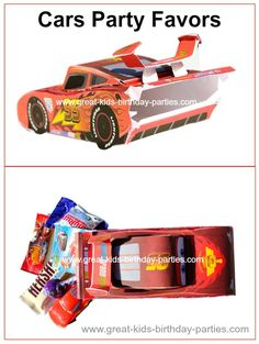 Disney Cars Party Favor Ideas - Lightning McQueen car party favors. FREE Template.