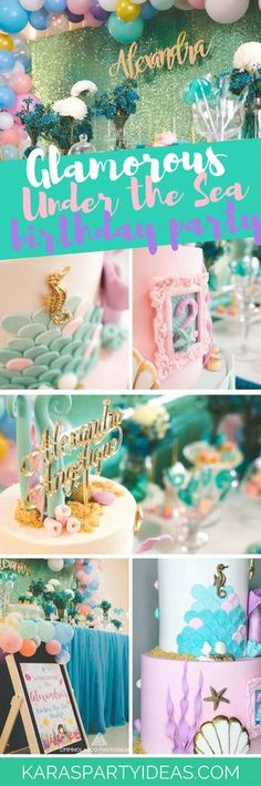 Swimming for underwater fun? If so, this Glamorous Under the Sea Birthday Party at Kara's Party Ideas is just for you! Happy Birthday Girls, 10th Birthday Parties, Birthday Party Themes, Birthday Ideas, 3rd Birthday, Theme Parties, Birthday Nails, Underwater Theme Party, Mermaid Parties