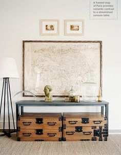 I'm still on the hunt for the perfect map! My living room needs it desperately. Vintage Living Room - A framed map above a table and a pair of wooden trunks. Living Room Photos, Living Spaces, Living Rooms, Weekend House, Love Home, My New Room, Interiores Design, Interior Inspiration, Interior Ideas