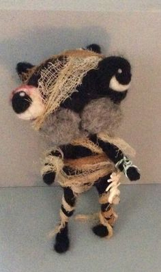 Mummy Cat ooak needle felted art doll by papermoongallery on Etsy