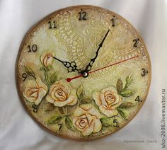 decoupage wall o ´ clock Clock Craft, Clock Decor, Texture Art, Texture Painting, Make A Clock, Handmade Clocks, Nostalgic Art, Arte Country, Decoupage Paper