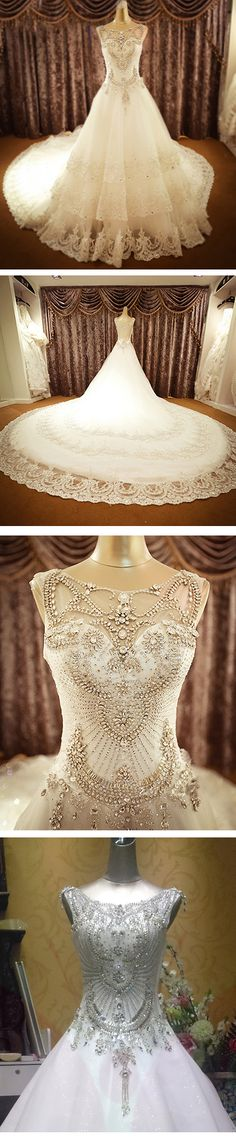 "Hand-sewn crystal wedding dress,Gorgeous~~Click the photo to get more or skype ""lanshowcase"" for tailor made"