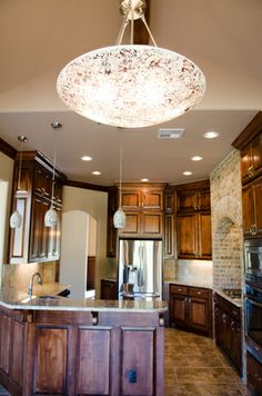 Crackled glass fixture--I LOVE the matched effect Beacon Lighting, Crackle Glass, Light Fixtures, Chandelier, Ceiling Lights, Kitchen, Projects, Home Decor, Log Projects