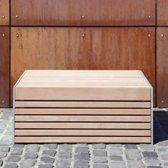 Research and select Products from Westeifel Werke online | Architonic Urban Furniture, Street Furniture, Wood Furniture, Outdoor Furniture, Outdoor Decor, Metal And Wood Bench, Eifel, How To Level Ground, Hardwood