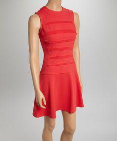 Coral Pleated Dropped-Waist Dress by Julia Jordan #zulily #zulilyfinds